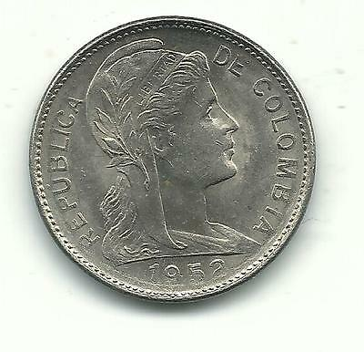 Very Nice High Grade Au + 1952 Colombia One (1) Centavo Coin-Dec938