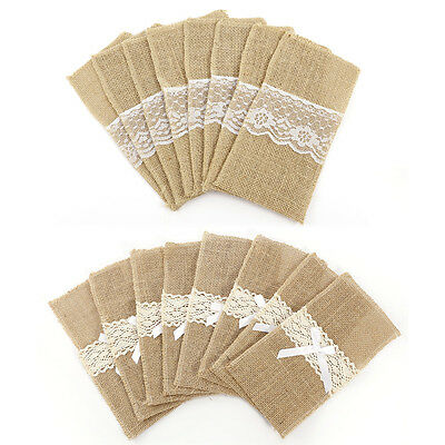 8pcs QUALITY BURLAP JUTE HESSIAN AND LACE VINTAGE WEDDING CUTLERY HOLDERS