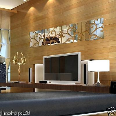 32pcs DIY 3D Acrylic Modern Mirror Decal Mural Wall Sticker Home Decor Removable