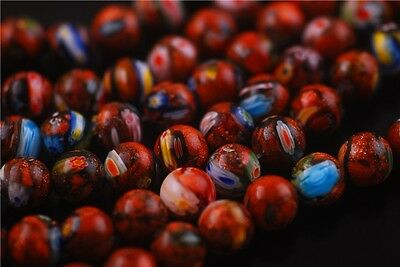 50pcs Charms Round Glass Gold Millefiori Beads Spacer Findings 8/10mm