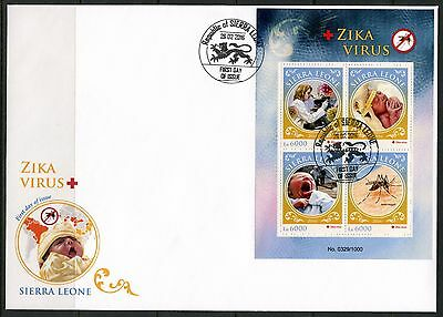 Sierra Leone 2016  Zika Virus Sheet First Day Cover