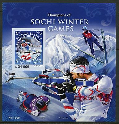 Sierra Leone 2016 Champions Of The Sochi Winter Olympic Games S/s Impf  Mint Nh