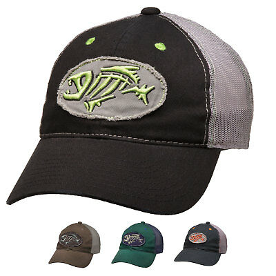 G Loomis Skeleton Fish Logo Distressed Oval Trucker Cotton Cap Adjustable Hat