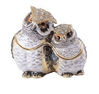 Mom and Baby Owl Enamelled Treasures Trinket Box with Necklace