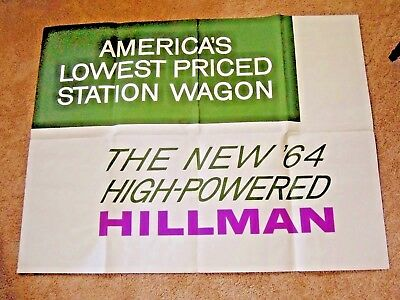 1960s Original Hillman Station Wagon Dealer Sales Poster 37 x 48""
