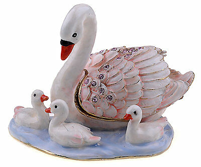 Swan Family Enamelled Treasures Trinket Box with Necklace