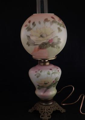 Antique 1880 Gone With the Wind Oil Lamp~Hand Painted Yellow Rose~Flowers~Signed