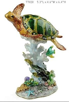 Turtle on Reef Treasures Trinket Box with Necklace