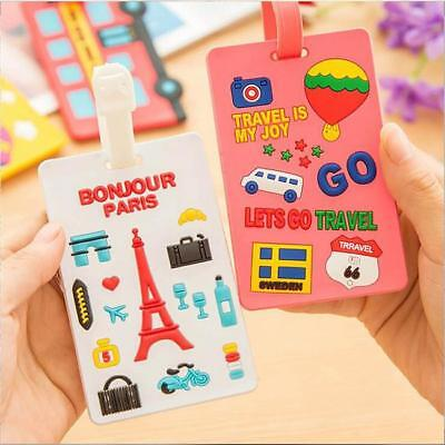 Creative Cute Travel Suitcase Luggage Tags Labels Baggage Address Card Case LG