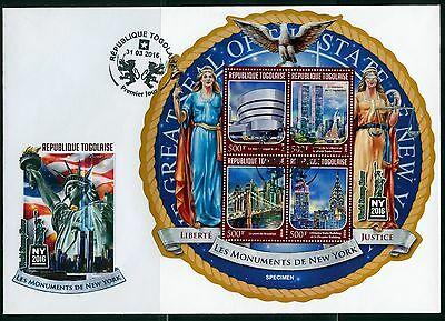 Togo 2016 Monuments Of New York  Statue Of Liberty World Trade  Sheet Fdc