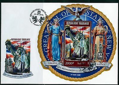 Togo 2016 Monuments Of New York  Statue Of Liberty S/sheet First Day Cover