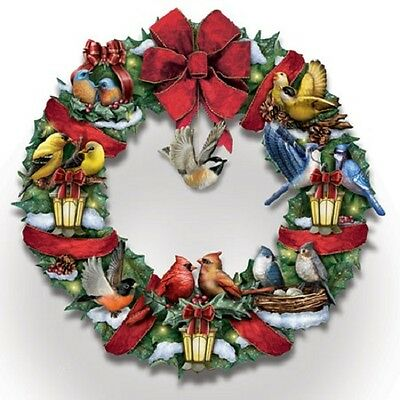 Merry Melodies Wreath Illuminated Song Bird Bradford Exchange