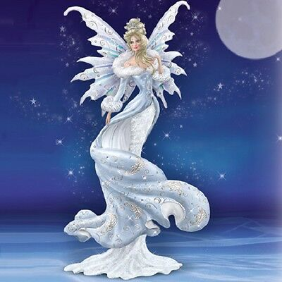 Bradford Exchange -  Crystal Kiss  - Lady Frost Moon Fairy Figurine