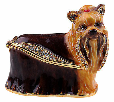 Yorkshire Terrier Enamelled Treasures Trinket Box with Necklace