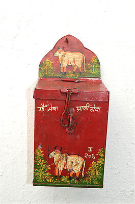 Charming Indian Folk Art Holy Cow Money Collection Box Painted Tin Money Box Hc5