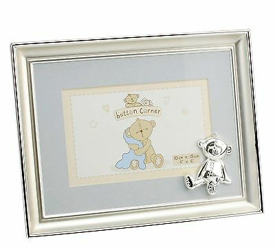 Button Corner Silver Plated Baby Photo Frame with Teddy & Blue Mount CG877B