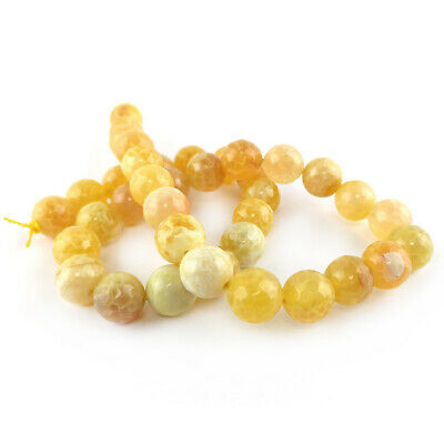 Strand Of 38+ Yellow Fire Agate 10mm Faceted Round Beads GS0063-3