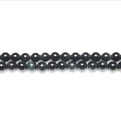 Rainbow Obsidian Round Beads 8mm Black/Dark Green 44+ Pcs Gemstones Jewellery