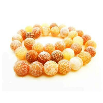 Strand Of 45+ Orange Frosted Cracked Agate 8mm Plain Round Beads GS16122-2
