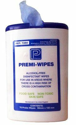 Premier Premi-Wipes - Food Safe Surface Disinfectant Probe Wipes (Tub of 70)