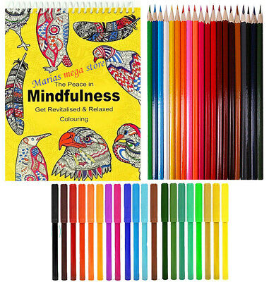 ADULT CHILDREN COLOUR THERAPY SPIRAL COLOURING BOOK + 20 Pencils + 20 Felt Tips