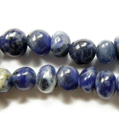 Sodalite Smooth Nugget Beads 8x10mm Blue 35+ Pcs Handcut Gemstones DIY Jewellery