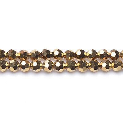 Strand 90+  Golden Czech Crystal Glass 4mm Faceted Round Beads GC3561-1