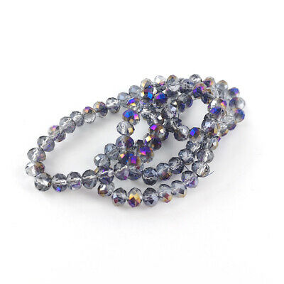 Strand 90+  Purple Czech Crystal Glass 4 x 6mm Faceted Rondelle Beads GC9596-2