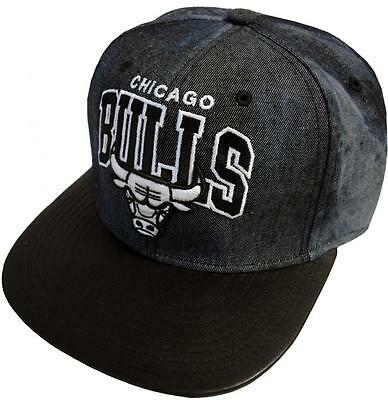 Mitchell & Ness Chicago Bulls Black Dyed Denim eu234 Snapback Cap Baseball Cap