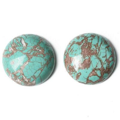 Pack of 2 x Turquoise Magnesite 16mm Coin-Shaped Flat-Backed Cabochon CA16679-5