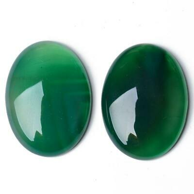 Pack of 2 x Green Onyx 13 x 18mm Oval-Shaped Flat-Backed Cabochon CA17392-5