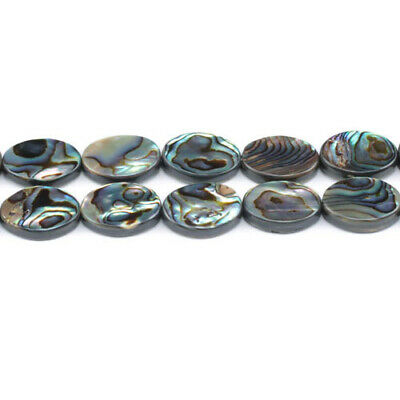 Pack Of 4 x Rainbow Abalone Paua Shell 13 x 18mm Flat Oval Beads GS1333-5