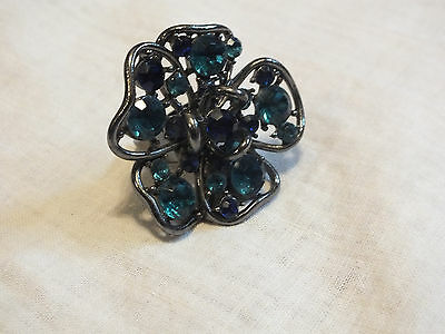 Beautiful Dark Silver Tone Chunky Cocktail Ring Turquoise Blue Rhinestones Adjus