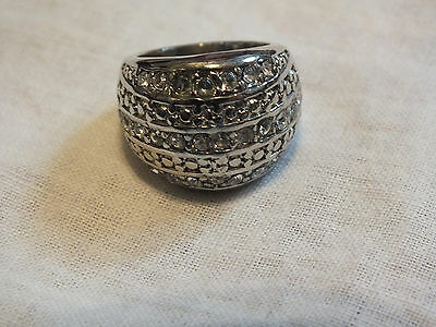Beautiful Silver Tone Cocktail Ring Sparkling Clear Rhinestones Size 5.5 Signed