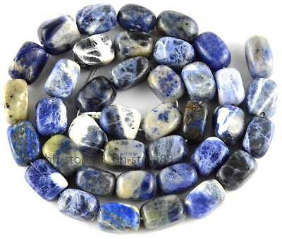 Natural Blue Sodalite Sphere 6x9-7x10mm Nugget Baroque Gemstone Beads 15''