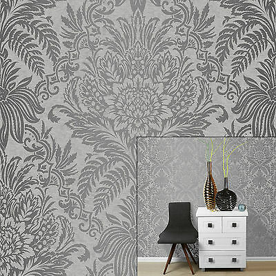 Crown Signature French Grey Silver Metallic Damask Feature Wallpaper