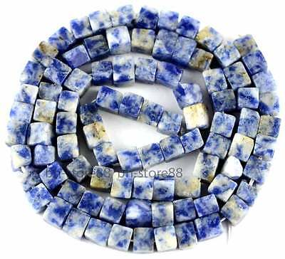 Natural Blue Sodalite 4mm Square Cube Gemstone Beads 15''