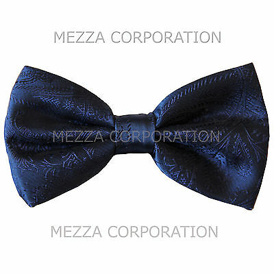 New formal men's pre tied Bow tie paisley pattern party wedding prom navy blue