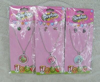 Shopkins Set Of  3 - Jewelry Sets With 3 Different Shopkins Characters ~ NEW