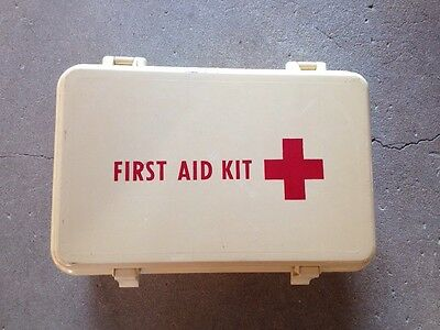 Vintage First Aid Kit! Nilla/red Wall Mountable!
