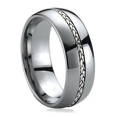 Tungsten Carbide 925 Sterling Silver Inlay Wedding Engagement Ring Man Band M75