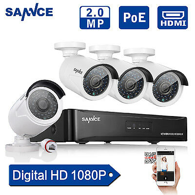 SANNCE 4CH 1080P NVR Network PoE 100ft Night Vision Home Security Camera System