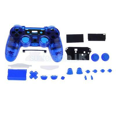 For DualShock 4 PlayStation 4 PS4 Controller Housing Shell Case Clear Blue