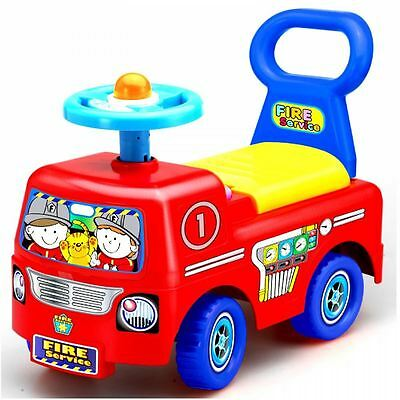 Toddler Infant Ride On Car Vehicle Fire Truck Kids Push Along Boys Girls Toy