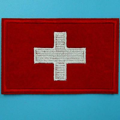 Switzerland Flag Swiss Europe Embroidered Iron on Sew Patch Applique Motif Cute