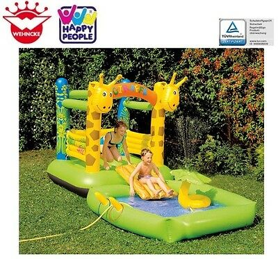 Happy People 18246 Wencke Hüpfburg GIRAFFE 2in1 mit Pool und Rutsche Kinder-Pool