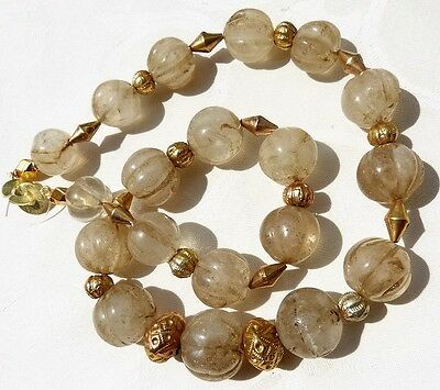 Antique Chinese / Tibetan Carved Rock Crystal Beads 22 k Gold Necklace