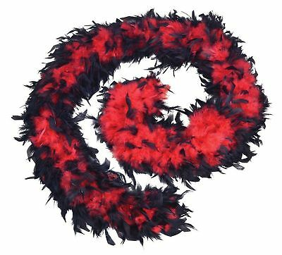 1920's Black & Red Burlesque Feather Boa Flapper Fancy Dress