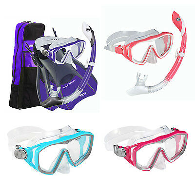 New! Us Divers Diva Ladies Womens Snorkel Set Mask + Snorkel + Fins + Bag