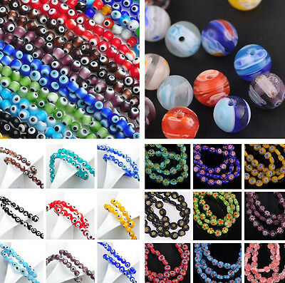 Bulk 50pcs 6mm 8mm Millefiori Lampwork Glass Charms Loose Spacer Beads Lot